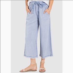 Anthro cloth and stone frayed wide leg pants